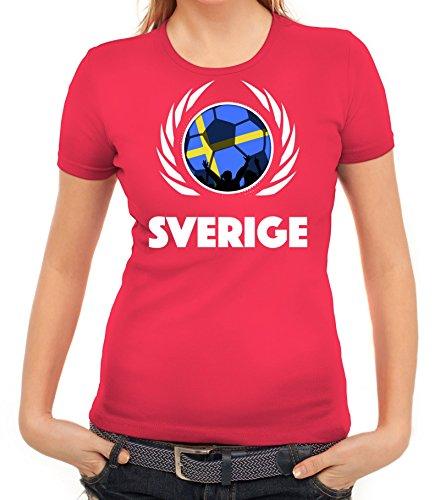 ShirtStreet Sverige Sweden Soccer Fussball WM Fanfest Gruppen Fan Wappen Damen T-Shirt Fußball Schweden Pink