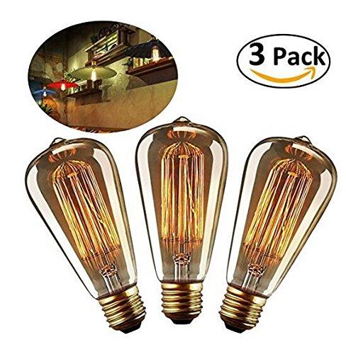 LEORX Edison Lámpara ST64 Filamento Antigua 220V - 240V 40W 140lm Blanco Cálido Bombillas Edison-Paquete de 3