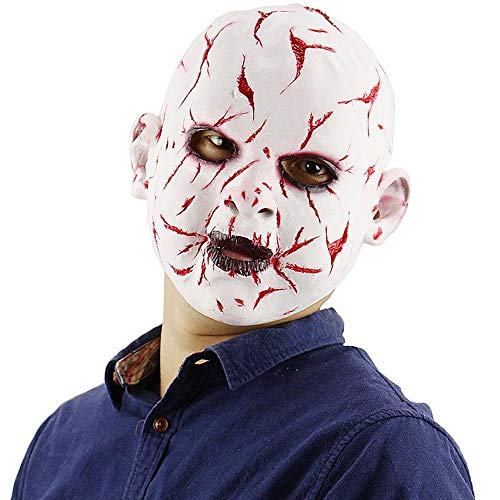 Circlefly Blutige Halloween Faulen Gesicht Puppe Maske Latex Horror Maske Perücke Kostüm Abschlussball Haunted House Horror Requisiten (Scream Halloween Blutiges Kostüm)