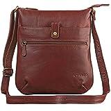 STILORD 'Lina' Elegante Vintage Damen Umhängetasche Schultertasche klein Abendtasche klassische Handtasche 10.1 Zoll Tablettasche echtes Leder, Farbe:kupfer - braun