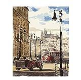 Vista De La Calle De Praga Luz Paisaje Diy Pintura Digital Por Números Arte De La Pared Moderna Pintura De La Lona Regalo Único Decoración Para El Hogar 50X60CM