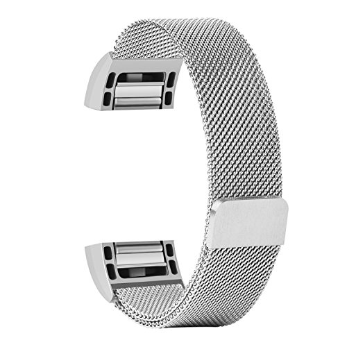 Fitbit Charge 2 Band,MeanLove Stainless Steel Bracelet Wristband Magnetic Absorbing Band for Fitbit Charge 2,Fitbit Charge 2 Strap (Silver, Large (6.7- 8.1 inch))