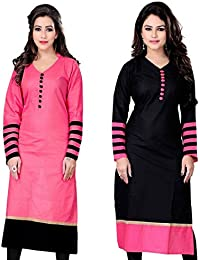Pink And Black Color Combo Indo Cotton Daily And Officewear Kurti Fabric