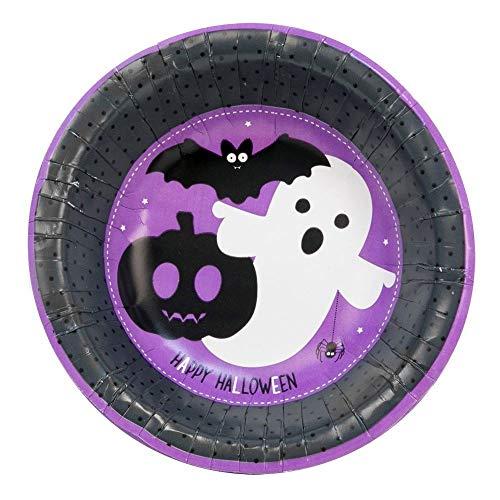 Halloween Spooky16X Einweg-Papierschale, 8 x Kürbis-Teller, Monster Party Supplies Spooky Paper Bowls - 16 Pack