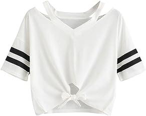 Weant Damen Sommer T-Shirts Riemen Rundhals Tie up Kurzarm Crop Top Saum Streifen Shirt Junges Mädchen Oberteil Bluse