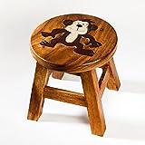 Robuster Kinderhocker/Kinderstuhl massiv aus Holz mit Tiermotiv Affe, 25 cm Sitzhöhe