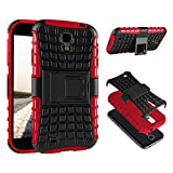 ECENCE Samsung Galaxy S4 Mini I9190 I9195 I9192 Duos Hybrid Outdoor Rugged Cover PLACAGE Housse Coque Silicone Protection Case Bumper Rouge 21030403