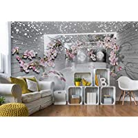 Snow Flowers And Silver Spheres - Photo Wallpaper - Wall Mural - EasyInstall Paper - Giant Wall Poster - XXXL - 416cm x 254cm - EasyInstall Paper - 4 Pieces