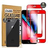 Owbb [2 Pièces] Film Protecteur en Verre Trempé iPhone 7 Plus/iPhone 8 Plus Smartphone Couverture Complète Protection 9H Dureté Anti-déflagrant (Film Avant Rouge + Film de Caméra Arrière)