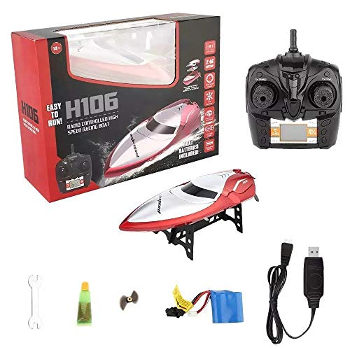 JTIH® RC Fishing Boats Spielzeug für Kinder/Erwachsene, Mioshor High Speed Radio Remoter Control Wasserfahrzeug für Pool/Lakes-Waterproof-Rumpf mit 2,4 GHz 4CH LCD-Display