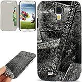 Rocina Jeans Style Tasche für Samsung i9500 Galaxy S4 in schwarz mit Sleep+Wake up Funktion und Kartenfach