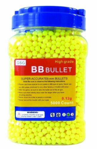 GSG Softair GSG BB's 0,12 g hochwertige Softairmunition 5.000 Stück Kal. 6mm, gelb, 201358 zu GSG