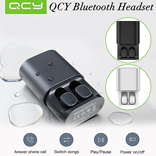 StageOnline Auriculares Bluetooth, QCY T1 Pro Touch Bluetooth Auriculares TWS Mini Auriculares inalámbricos con Mic andsfree Music Auriculares y 750mAh Caja de Carga