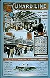Blechschild Nostalgieschild Cunard Line Eisenbahn und Schiff Kreuzfahrt retro Schild