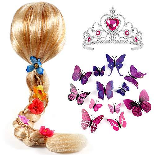 Tacobear Princesa Rapunzel Peluca Trenza con Princesa Corona y Mariposa Broche Princesa Rapunzel Sofia Disfraz Accesorios para niñas