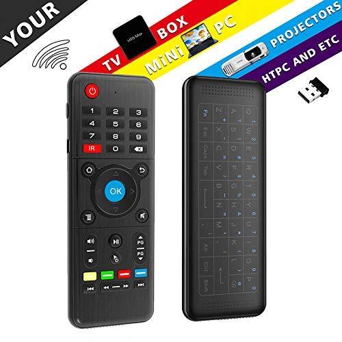 Airmaus Fernbedienung, penkou H1 backlit Mini Tastatur kabellos Somatosensorisches Spiel Keyboard 2,4 G wiederaufladbare Air Mouse Combo mit full Touchpad LED Backlits für Smart TV, Android TV Box
