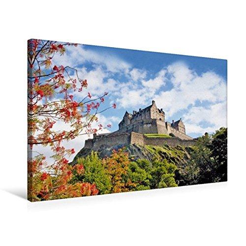 Calvendo Premium Textil-Leinwand 75 cm x 50 cm quer, EIN Vogelbeerbaum mit seinen roten Früchten vor dem sehenswerten Edinburgh Castle | Wandbild, Bild auf Vereinigtes Königreich Orte Orte - Leinwand Burg