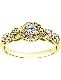 Silvernshine 0.69 Cttw White Cubic Zirconia Diamond 9k Yellow Gold Over Wedding Engagement Ring