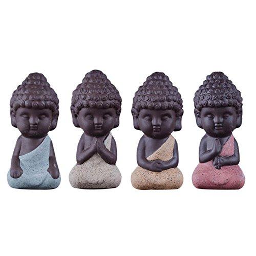 Baoblaze 4 Pcs Mini Statue de Bouddha Monk Figurine Salon Maison Table Décoration Noël