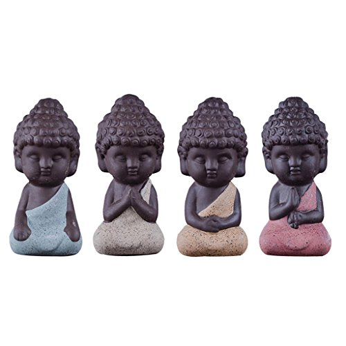 Gazechimp 4er-Set Mini Mönch Buddha Figuren Skulptur Statue Tee Tray Dekor Teezeremonie Zubehör (Keramik-mini-figur)