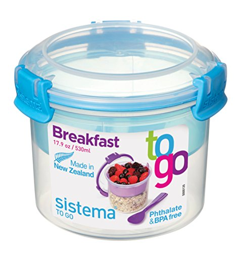 Sistema To Go Frühstücksbehälter kompakt, 530ml, transparent/blau