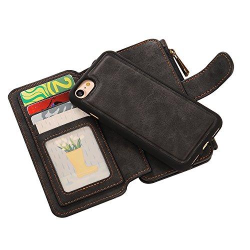 iPhone 7 Hülle, Pasonomi [2 in 1] Multi-function Wallet Case Brieftasche Hülle mit Kartenfächer und Bargeld für Apple iPhone 7 4,7 Zoll (Lila) Schwarz
