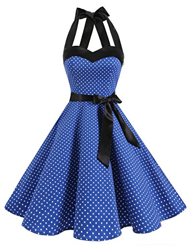 Dresstells Neckholder Rockabilly 1950er Polka Dots Punkte Vintage Retro Cocktailkleid Petticoat Faltenrock Royal Blue Small White Dot M