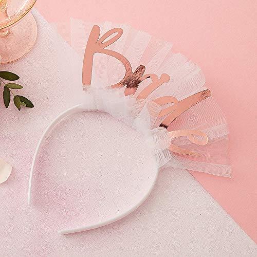 Haar-Reif/Haar-Schmuck mit Schleider Bride weiß & rosé-Gold/JGA-Party Junggesellinnen-Abschied Braut Kostüm Verkleidung Accessoire-s Frau-en (Weiß Frau Kostüm)