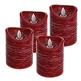 ToCi LED Kerzen Set Rot mit 4 flammenlosen Echtwachs-Kerzen (Ø7,5x10cm) mit beweglicher Flamme und Timer