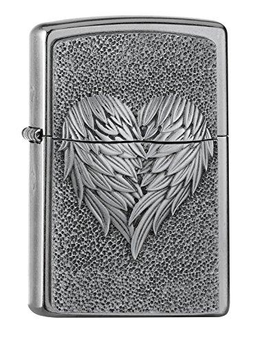 Zippo Heart with Feathers Benzinfeuerzeug, Messing, Edelstahloptik, 1 x 6 x 6 cm