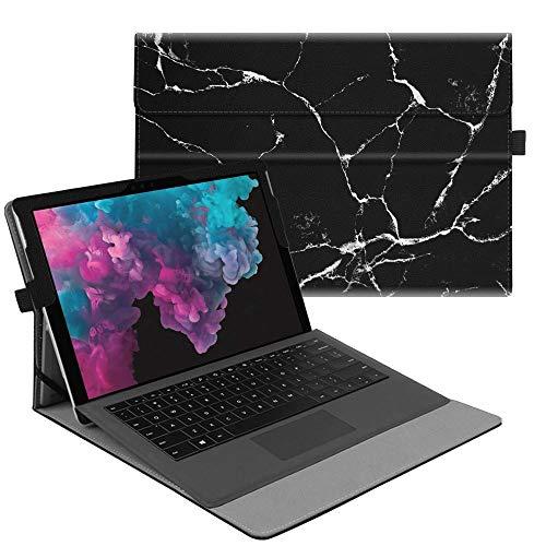 Fintie Hülle für Microsoft Surface Pro 6 (2018) / Pro 5 (2017) / Pro 4 / Pro 3 - Multi-Sichtwinkel Hochwertige Tasche Schutzhülle aus Kunstleder, TypeCover kompatibel, Marmor Schwarz