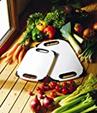 H & L Russel Ltd Anti-Bacterial Chopping Board with Black Trim and Slotted Handles, White, Non-Slip, Polyethylene, 32 x 20 x 1 Centimetres