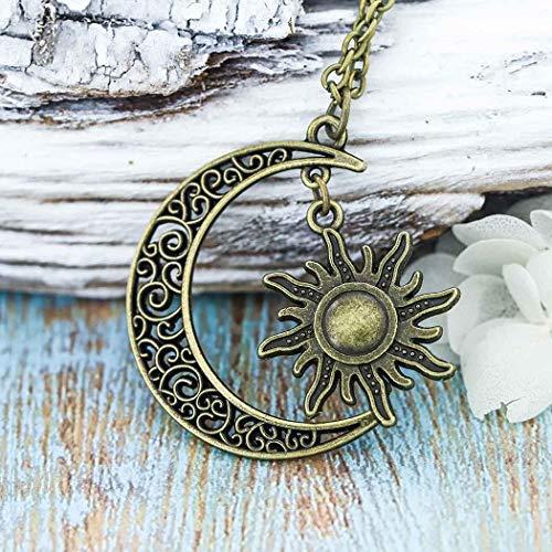 Simsly Damen-Halskette, Retro-Design mit Mond- und Sonnen-Anhänger, größenverstellbar (Mond Halskette Anhänger)