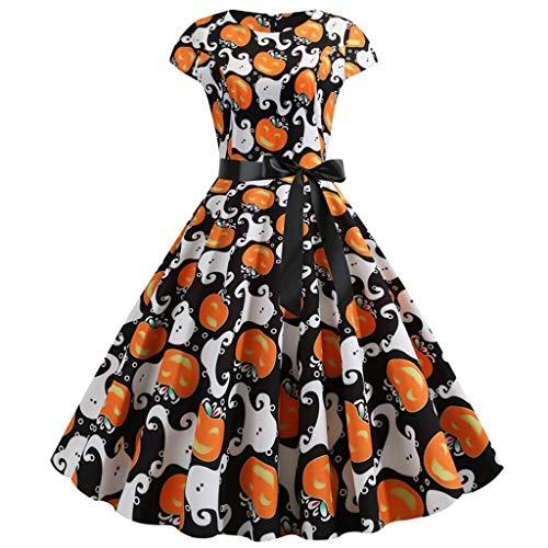 Halloween Kostüm Damen 1950er Vintage Retro Hepburn Dekolletiert Kleider Empire Schleife Midi Partykleider Karneval Party Einteiler Maskerade Mottoparty (L, Weiß) (Krähe Kostüm Für Hunde)