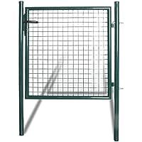 vidaXL Puerta Doble de Valla de Acero Revestida de Polvo Color Verde Oscuro 100 x 150cm