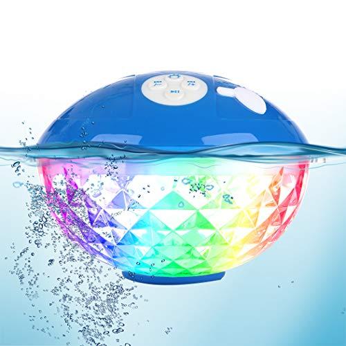 Tragbare Bluetooth Lautsprecher Farblicht, Schwimmend Dusche Lautsprecher Bluetooth4.2 Kabelloser Lautsprecher IPX7 Wasserdichtes, Eingebautem Mikrofon Kristallklare Stereo Musikbox für iPhone,Samsung