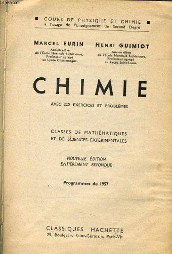 Chimie classes de mathématiques et de sciences expérimentales programme 1957
