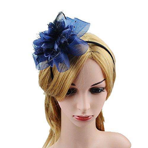 fascinator dunkelblau JasmineLi Fascinator, stilvolle Damen-Haarspange, Feder, Perlen, Netz, Haarreif, Verschlüsse, Brosche, Schmuck, dunkelblau