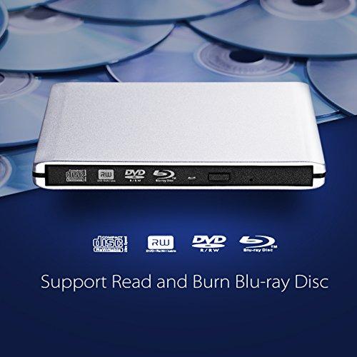 TOPELEK External Bluray Drive, USB 3 0 External Blu Ray Player Writer  Portable BD/CD/DVD Burner Drive with Polished Metal Chrome for Mac, Windows  10,