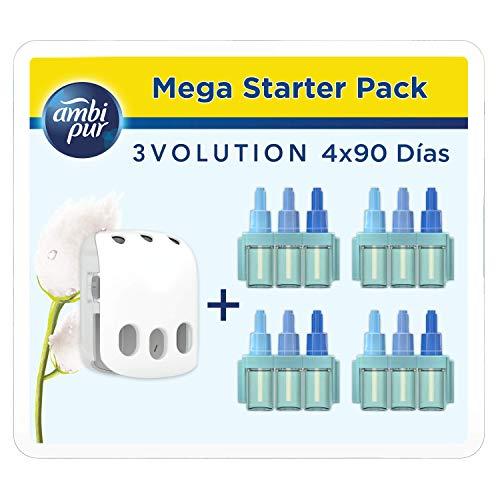 Ambi Pur 3Volution Nuvole di Cotone Mega Starter Pack Deodorante per Ambienti con Diffusore Elettrico 21ml, 4 Ricariche con 3 Diverse Fragranze per Eliminare Gli Odo