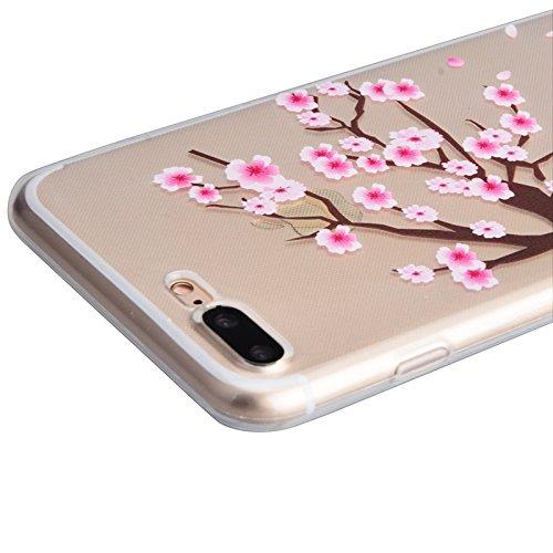 iPhone 7 Case, Yokata Weich TPU Transparent Hülle Handyhülle Schutzhülle Durchsichtig Crystal Clear Case Backcover Bumper + 1*Stylus Pen - Lotus Kirschbaum