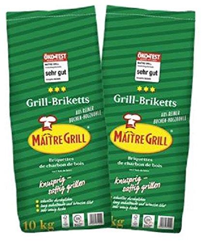 "20 kg ""Maître Grill®"" Grillbriketts aus reiner Buchenholzkohle (2x10 kg Säcke)"
