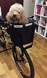 Cesto da bicicletta per cani, pieghevole, tessuto Oxford impermeabile 600D, telaio in lega di alluminio, con un set di accessori, nero