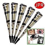 5x JPR natürliche Golecha Kegel für Temporäres Mehndi Tattoos (Schwarz) + SRK Postkarte
