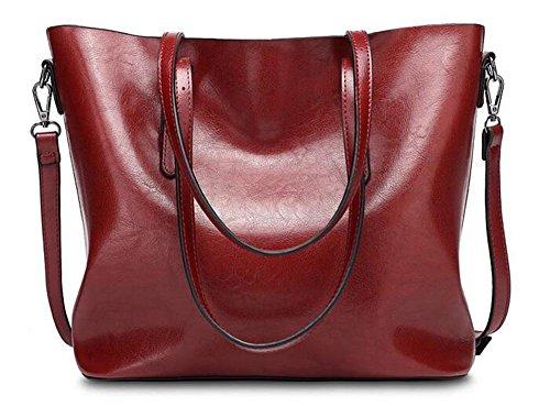 CHAOYANG-Retro spalla in pelle olio signore della borsa del grande capacità , black wine red