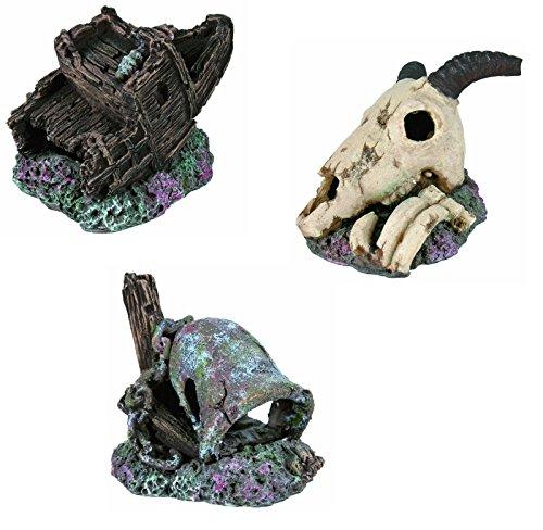 3er Set Aquarium Deko Versunkene Glocke, Tierkadaver, Teil vom Piraten Schiff