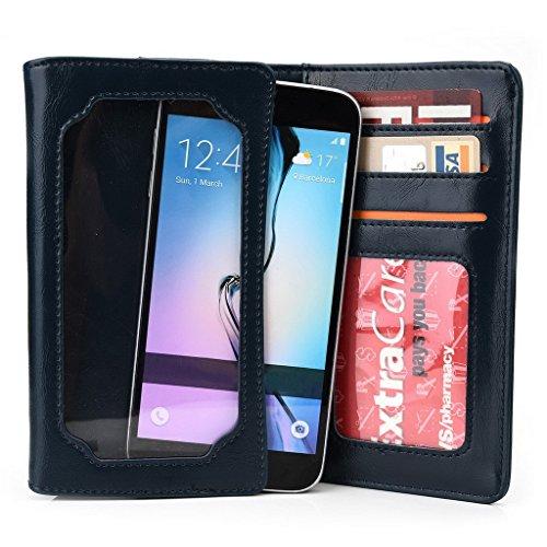 Kroo Unisexe Portefeuille Pliant Motorola Moto Maxx/G 4G Dual SIM (2e génération) universel différentes couleurs avec écran View gris Blau - blau