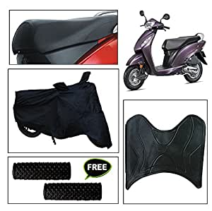 Vheelocity Combo of 72598 Black Motorcycle Body and Seat Cover with Foot Mat and Free Acupressure Grip for Honda Activa I