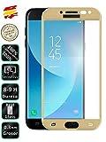 Protector de Pantalla Cristal Templado Completo Compatible con Samsung Galaxy J5 2017 Dorado - Movilrey