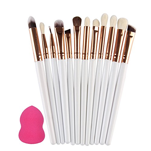 Rrimin 12 Pcs Makeup Eyeshadow Eyeliner Brush Set + 1 Foundation Powder Sponge Puff Cosmetic Kit (White)